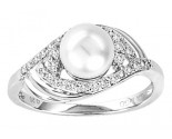 Pearl Diamond Ring 14K White Gold 0.23 cts. CL-27359
