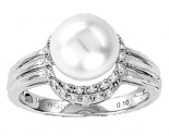 Pearl Diamond Ring 14K White Gold 0.10 cts. CL-27613