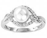 Pearl Diamond Ring 14K White Gold 0.25 cts. CL-28279