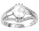 Pearl Diamond Ring 14K White Gold 0.25 cts. CL-28286