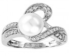 Pearl Diamond Ring 14K White Gold 0.20 cts. CL-28640