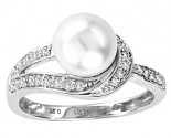 Pearl Diamond Ring 14K White Gold 0.20 cts. CL-28642
