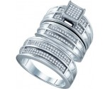 925 Sterling Silver Trio Set with Diamonds 0.42 cts GD-63021