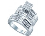 925 Sterling Silver Trio Set with Diamonds 0.35 cts GD-63025