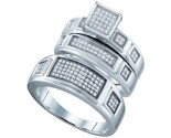 925 Sterling Silver Trio Set with Diamonds 0.44 cts GD-63037