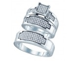925 Sterling Silver Trio Set with Diamonds 0.47 cts GD-63064