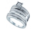 925 Sterling Silver Trio Set with Diamonds 0.48 cts GD-64406