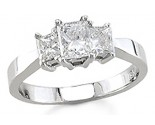 Three Stone Diamond Ring 14K White Gold 1.10 cts. S13-9