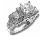 Three Stone Diamond Ring 14K White Gold 2.49 cts. 6J6879