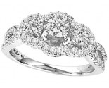 Three Stone Diamond Ring 14K White Gold 1.15 cts. CL-28848