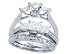 Three Stone Diamond Bridal Ring Set 14K White Gold 2.00 ct. CL-30949