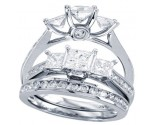 Three Stone Diamond Bridal Ring Set 14K White Gold 0.50 cts. CL-30947