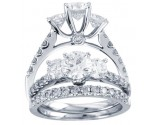 Three Stone Diamond Bridal Ring Set 14K White Gold 2.00 ct. CL-30979
