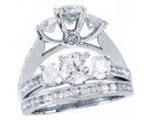 Three Stone Diamond Bridal Ring Set 14K White Gold 0.68 cts. CL-31346
