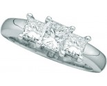 Three Stone Diamond Ring 14K White Gold 1.00 ct. GD-12030