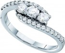 Three Stone Diamond Ring 14K White Gold 0.73 cts. GD-26172