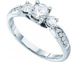 Three Stone Diamond Ring 14K White Gold 0.81 cts. GD-26241