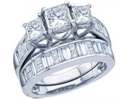 Three Stone Diamond Bridal Ring Set 14K White Gold 1.00 ct. GD-39866