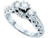 Three Stone Diamond Ring 14K White Gold 0.77 cts. GD-45682