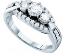 Three Stone Diamond Ring 14K White Gold 0.98 cts. GD-45688
