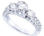 Three Stone Diamond Ring 14K White Gold 2.50 cts. GD-48491