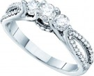 Three Stone Diamond Ring 14K White Gold 0.70 cts. GD-53010