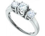 Three Stone Diamond Ring 14K White Gold 1.00 ct. GD-58653