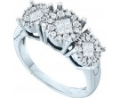 Ladies Three Flowers Ring 14K White Gold 0.50 cts. GD-59085