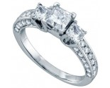 Three Stone Diamond Ring 14K White Gold 1.50 cts. GD-68710
