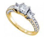 Three Stone Diamond Ring 14K Yellow Gold 1.50 cts. GD-68780