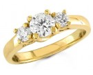 Three Stone Diamond Ring 14K Yellow Gold 1.00 cts. S13-1