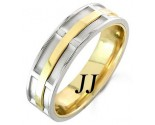 Two Tone Gold Dual Space Wedding Band 7mm TT-1051