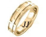 Yellow Gold Dual Space Wedding Band 7mm YG-1051