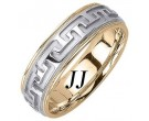 Two Tone Gold Big 'T' Wedding Band 6.5mm TT-1052