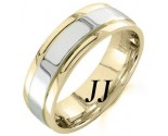 Two Tone Gold Polished Wedding Band 7mm TT-1053