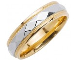 Two Tone Gold Hammered Wedding Band 6mm TT-1055