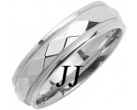 White Gold Hammered Wedding Band 6mm WG-1055