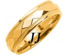 Yellow Gold Hammered Wedding Band 6mm YG-1055