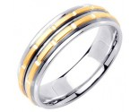 Two Tone Gold Brick Wedding Band 6.5mm TT-1057