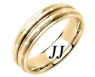 Yellow Gold Brick Wedding Band 6.5mm YG-1057