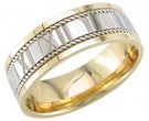 Two Tone Gold Roman Numbers Wedding Band 7mm TT-1059