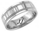 White Gold Roman Numbers Wedding Band 7mm WG-1059