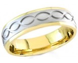 Two Tone Gold Ellipses Wedding Band 6mm TT-1060