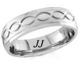 White Gold Ellipses Wedding Band 6mm WG-1060