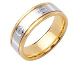 Two Tone Gold Screwdriver Wedding Band 7mm TT-1063
