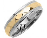Two Tone Gold Hammered Wedding Band 6mm TT-1067
