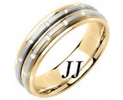 Two Tone Gold Brick Wedding Band 6.5mm TT-1068
