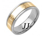 Two Tone Gold Screwdriver Wedding Band 7mm TT-1069