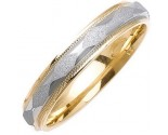 Two Tone Gold Sandblasted Wedding Band 4mm TT-1070