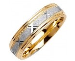 Two Tone Gold Sandblasted Wedding Band 6mm TT-1071